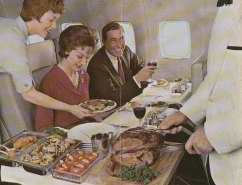 Refeição servida no Boeing-707 da PAN AM na década de 1960