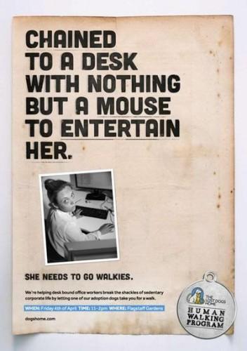 """""""Presa à uma mesa sem nada além de um mouse para entretê-la.Ela precisa ir caminhar."""""""