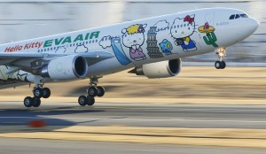 Eva Airways aircraft painted with Hello Kitty characters takes off at Narita international airport in Narita