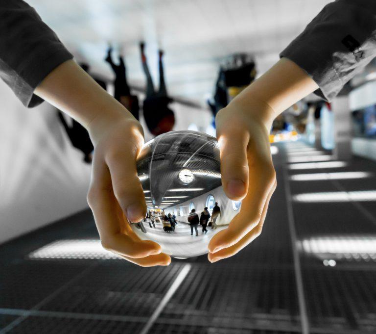 Airport through a globe
